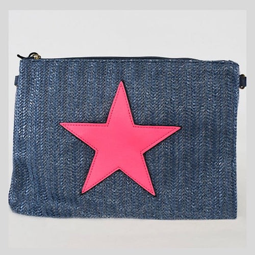 Navy & Pink Star Clutch Bag