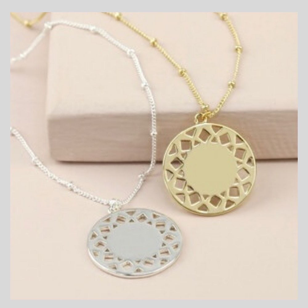 Silver Aztec Style Long Disc Necklace