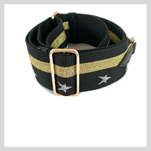Load image into Gallery viewer, gold and black gold star struck bag strap