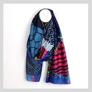 Blue & Pink Vibrant Mix Silky Scarf