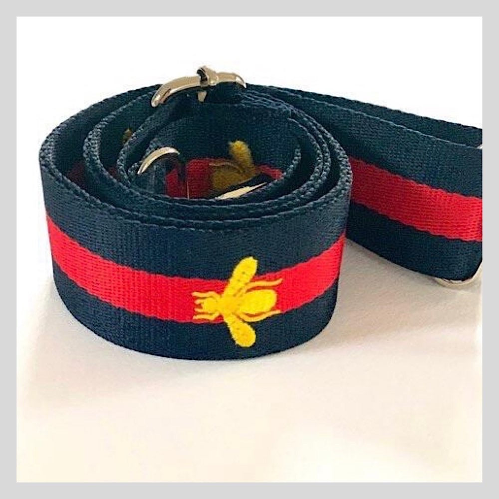Navy Blue & Red Bag Strap With Gold Bee - Due in End Feb