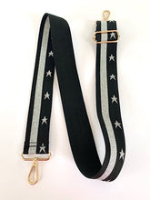 "Load image into Gallery viewer, ""Starstruck"" Bag Strap With Silver Stars And Silver Trim  - Gold Metal Work"