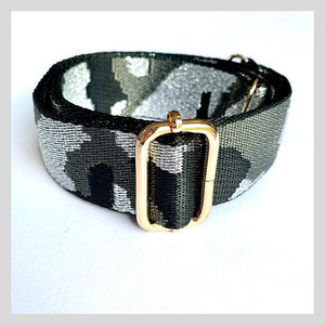 black and grey camo  bag strap
