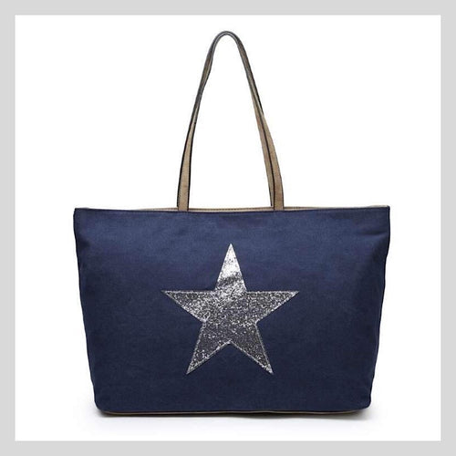 large glitter star holdall bag