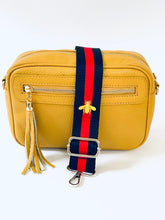 Load image into Gallery viewer, Navy Blue & Red Bag Strap With Gold Bee - Due in End Feb