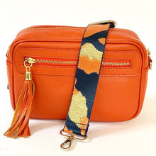 Load image into Gallery viewer, Navy Blue & Orange Camo Black Bag Strap - Gold Metal Work