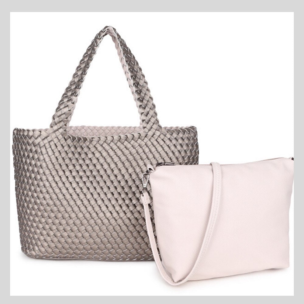 Reversible Pewter & Cream Bag Set