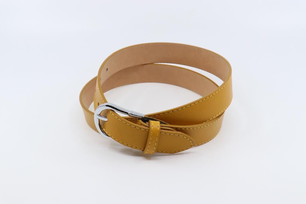 Mustard Yellow Italian Leather Belt