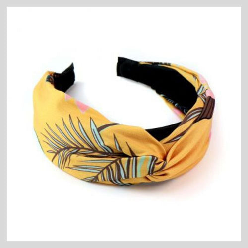 mustard and taupe tropical print headband