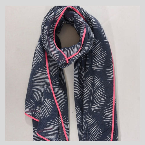 navy and pink jungle mix scarf