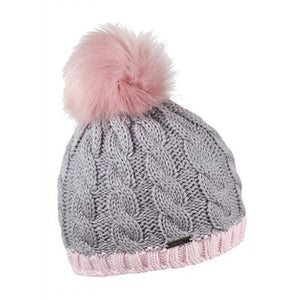 Andrea Pink & Grey Faux Fur Pompom Hat
