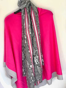 Pink And Grey Border Poncho