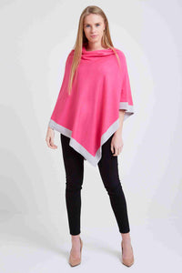 Pink poncho with grey border