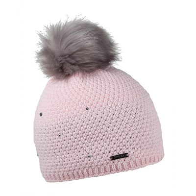 rose pink knit hat with faux fur pompom