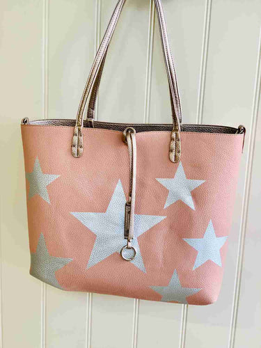 rose gold and pink star reversible summer bag
