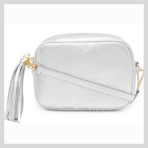 "Leather Silver ""Rosa"" Cross Body Camera Bag With Tassel"
