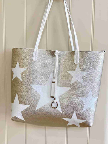 silver star and white bag reversible tote summer bag