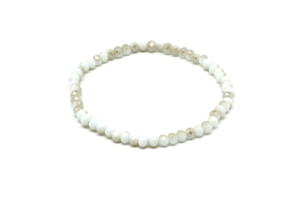 white crystal beaded bracelet