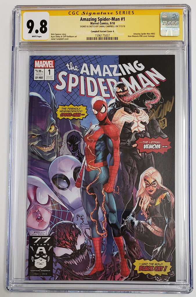 AMAZING SPIDER-MAN #1 Homage Variant A CGC SS 9.8 Signed & Sketch by Jamal Campbell