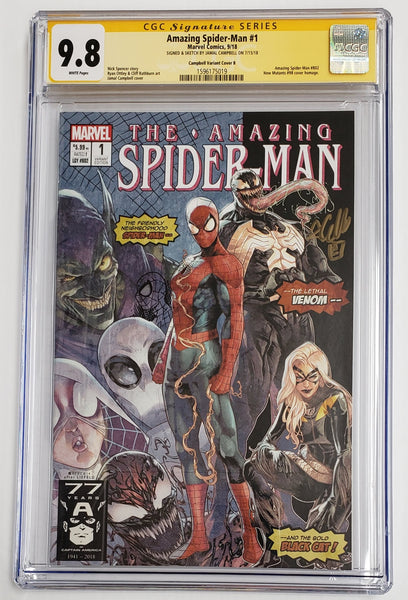 AMAZING SPIDER-MAN #1 Homage Variant B CGC SS 9.8 Signed & Sketch by Jamal Campbell