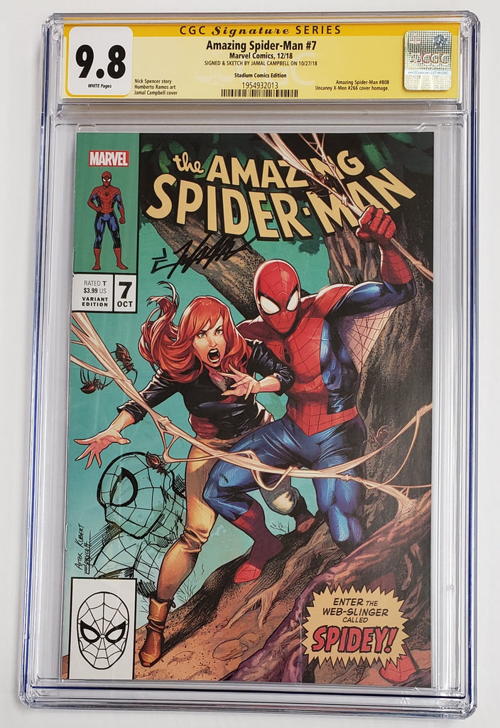 AMAZING SPIDER-MAN #7 Homage Variant CGC SS 9.8 Signed & Sketch by Jamal Campbell