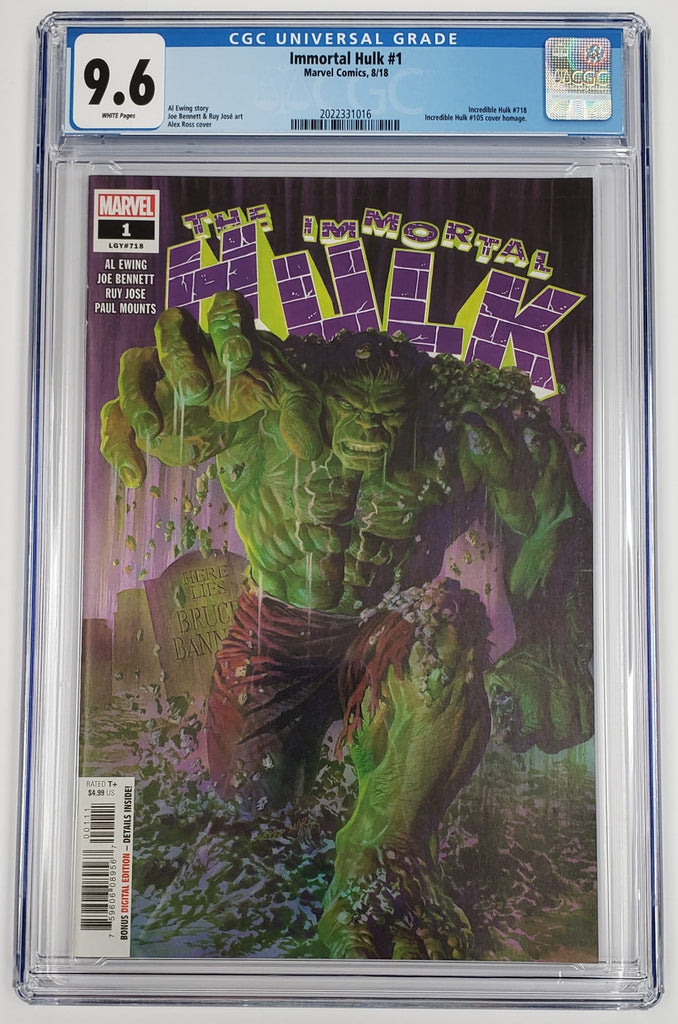 IMMORTAL HULK #1 ALEX ROSS COVER CGC 9.6
