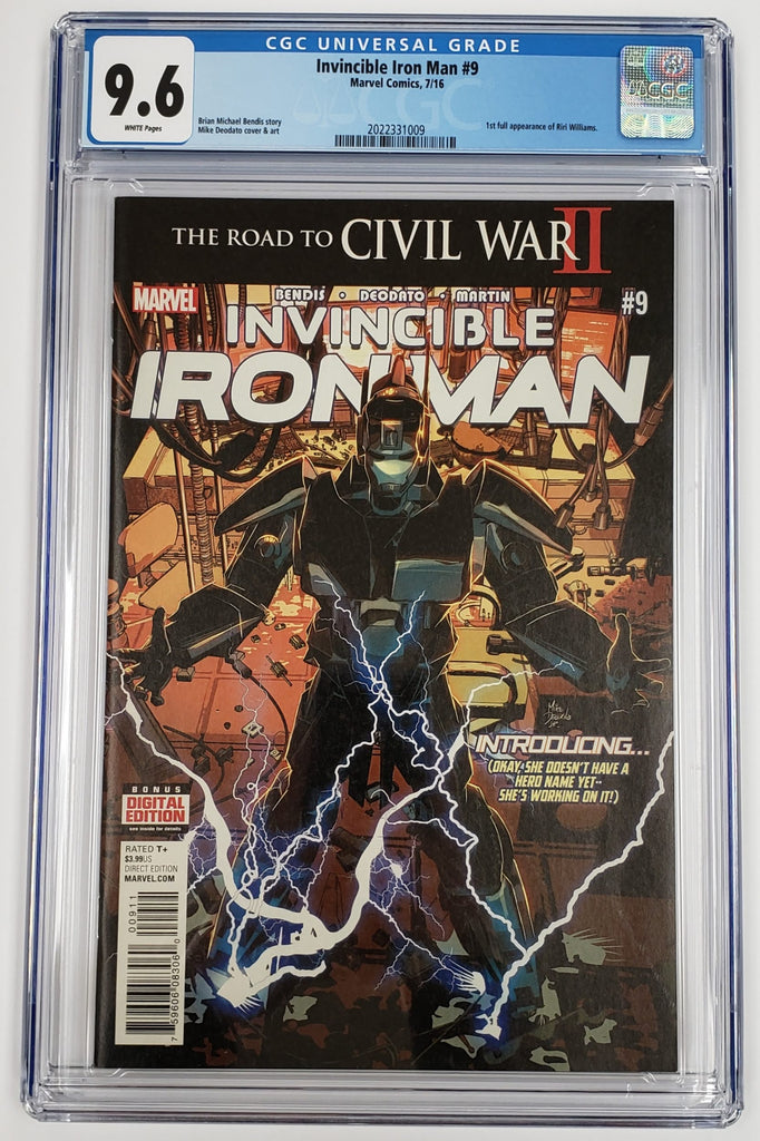 INVINCIBLE IRON MAN #9 CGC 9.6 1ST FULL APPERANCE OF RIRI WILLIAMS