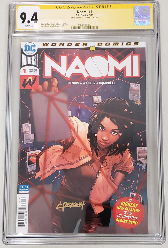 Naomi #1 CGC SS 9.4 Signed by Jamal Campbell
