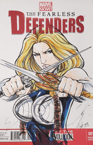 FEARLESS DEFENDERS #1 - Valkyrie sketch by Vince Sunico
