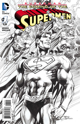 SUPERMAN THE COMING OF THE SUPERMEN #1 Black & White Variant Neal Adams