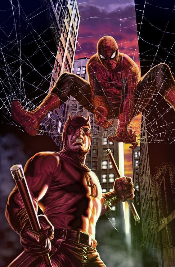 SPIDER-MAN DAREDEVIL BY LEE BERMAJO POSTER