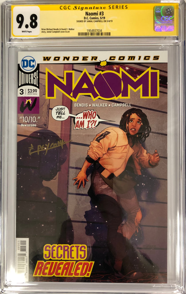 NAOMI #3 CGC 9.8 SIGNED BY JAMAL CAMPBELL