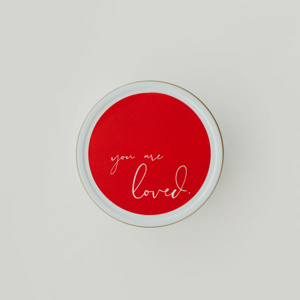 You are loved travel tin candle rose water and hibiscus