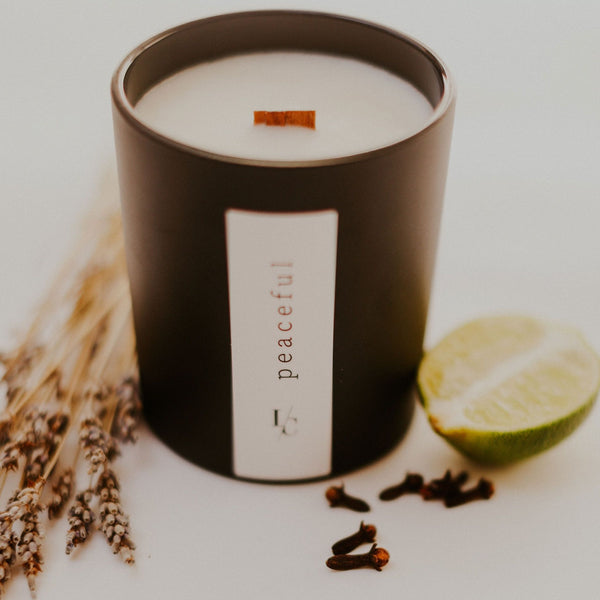 peaceful soy candle spiced bergamot and labdanum hand poured in los angeles gifts