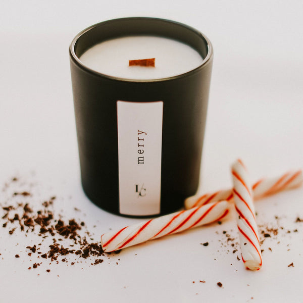 merry soy candle peppermint and chocolate shavingswinter solstice collection hand poured in los angeles