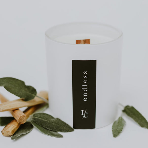 endless palo santo and sage soy candle