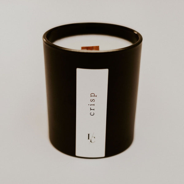 crisp soy candle kakadu plum and amber  winter solstice collection hand poured in los angeles