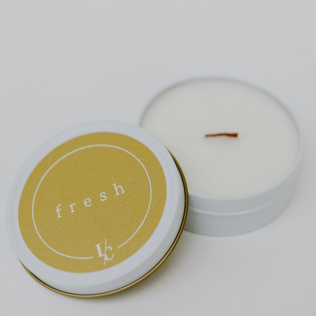 fresh soy candle travel tin gardenia and grapefruit