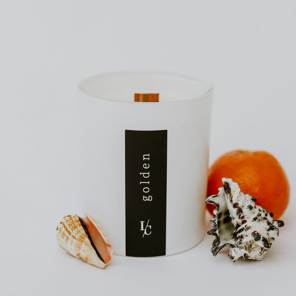 golden soy candle coastal redwood and mandarin
