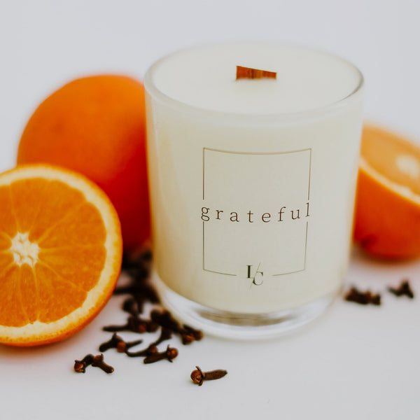 orange rind and clove grateful soy candle