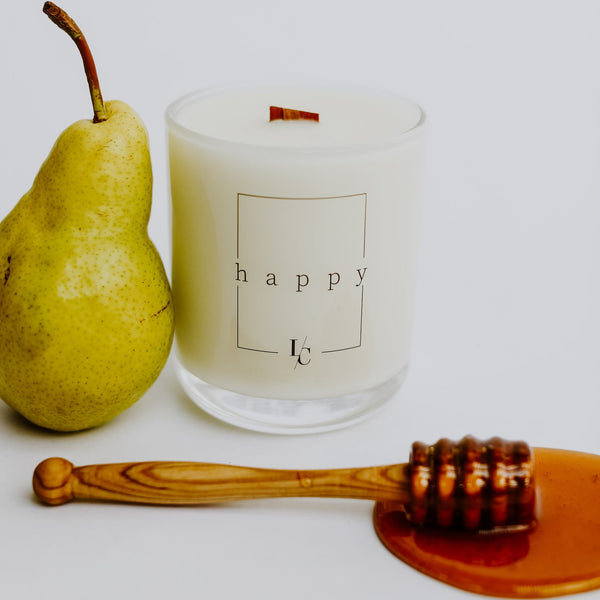 pear and honey happy soy candle