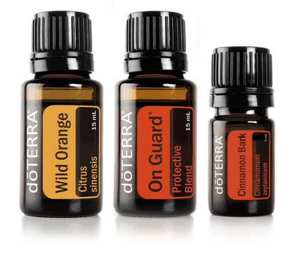 Wild Orange essential oil, Cinnamon Bark essential oil and On Guard protective blend