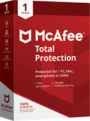 McAfee Total Protection 2021 1 Device 1 Year For Mac/Windows/Tablet