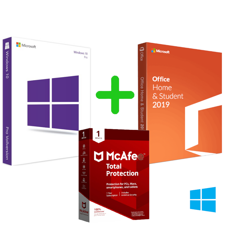 Microsoft Windows 10 Professional For 32/64 Bit + Office 2019 Home and Student For Windows PC+McAfee Total Protection 2020 1 Device 1 Year