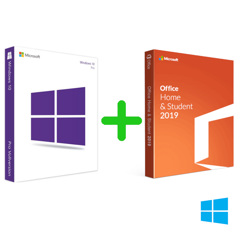 Microsoft Windows 10 Professional For 32 or 64 Bit + Office 2019 Home and Student For Windows PC