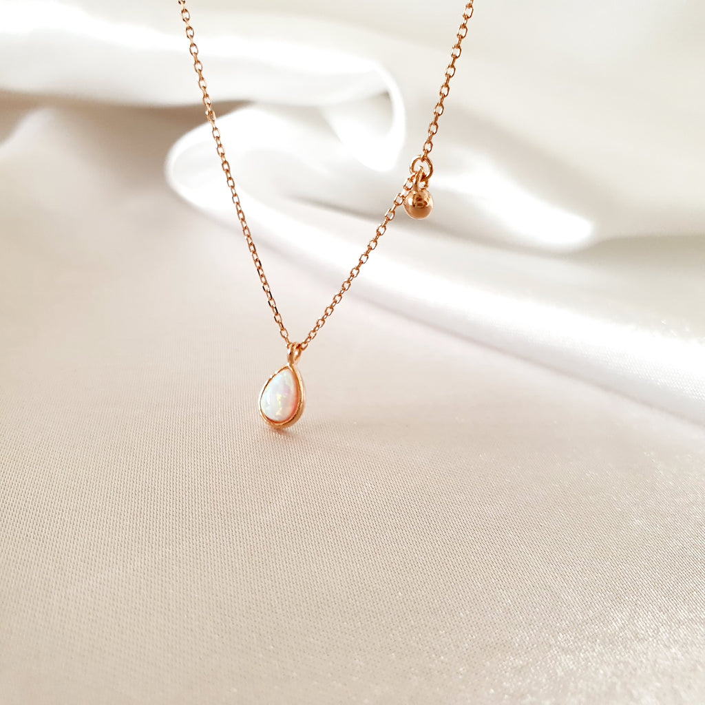Drop Opal Necklace Rose gold