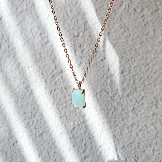Ocean Blue Calcedonia Necklace Rose gold