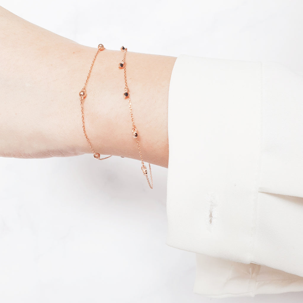 Black point lace Bracelet Rose gold