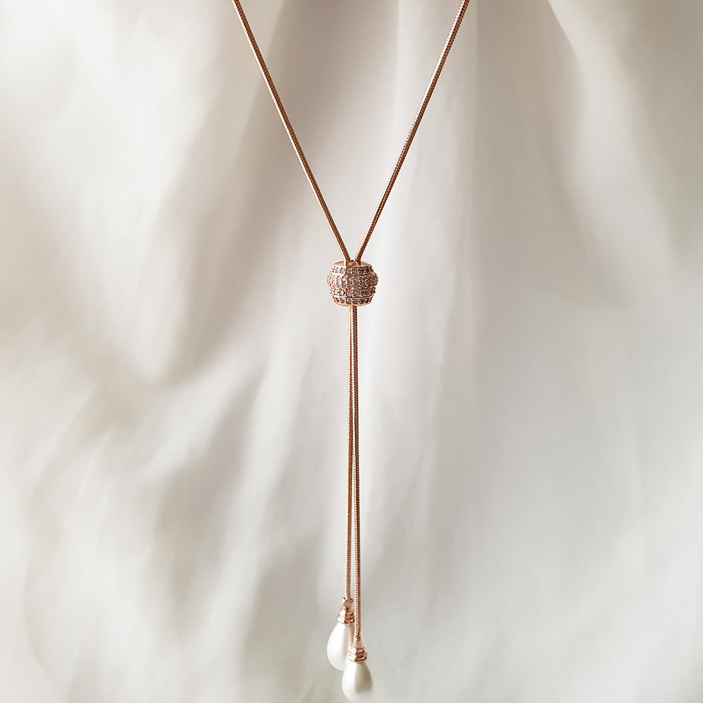 Piatong waterdrop pearl Long Pendant Rose gold