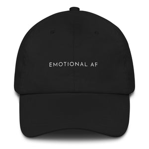 Black embroidered empowering women's statement baseball hat. 'Emotional AF' Ethically made. Still cute AF. [minimalist apparel//sweatshop free]